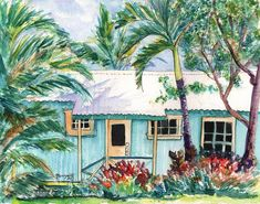 tropical plantation house 8x10 giclee print by kauaiartist on Etsy