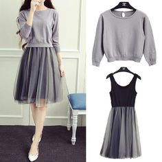 Autumn College Wind knit sweater dress two-piece dress Girls long paragraph gauze tutu skirt bottoming Mode Outfits, Skirt Outfits, Trendy Outfits, Look Fashion, Korean Fashion, Girl Fashion, Fashion Design, Classy Fashion, Fashion Tips