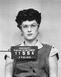 """Photoshopped image based on an old police mug shot. It's one of several 1950s mug shots that have been subtly doctored and are currently being reproduced and sold by a Cincinnati operation called Larken Design. The real mug shots say """"Alameda."""" http://www.nytimes.com/2011/08/28/us/28mug.html?_r=2&ref=us&"""