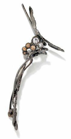 Broche / pendentif Écorce noire. Or noir, diamantset dégradé de diamants tabac.  Thierry Vendome Live