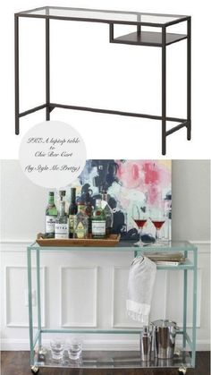 Make a swish bar cart from your laptop table. Paint the frame, add an acrylic shelf at the bottom and attach wheels.