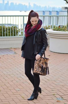 Spice up your usual all black outfit with a mix of patterns or a pop of color! #fall #winter #style #fashion