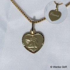 Schutzengel-Anhänger Gold Herz mit Gravur Pendant Necklace, Jewelry, Heart, Chain, Gifts, Jewellery Making, Jewelery, Jewlery, Jewels