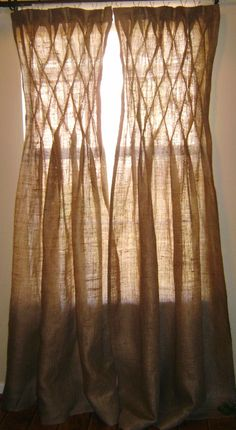 Burlap Smocked Curtains & Drapes by NaturallyHomeDecor on Etsy, $100.00