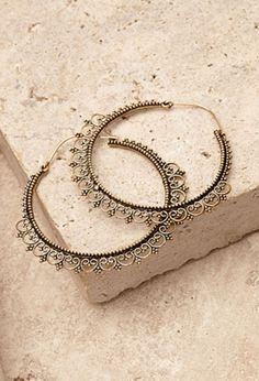 Filigree Trim Hoop Earrings