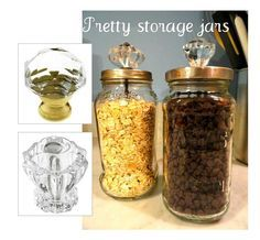 Make your own elegant canisters with glass jars and glass cabinet knobs.  Find dozens of glass & crystal knobs at House of Antique Hardware:  http://www.houseofantiquehardware.com/cabinet-knobs-pulls.  Canister idea repinned from http://pinterest.com/pin/576108977302328887/