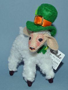 "St Patrick's Day Irish Lamb Wearing Hat 5"" Display Figure Leprechaun Annalee New"