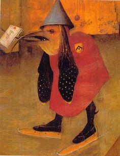 Jerónimo Bosco · Tríptico de las Tentaciones de San Antonio (detalle Tabla izquierda: monstruo patinando) · Museu Nacional de Arte Antiga · Lisboa (Portugal)