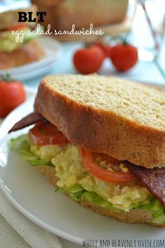 Tired of boring-old egg salad sammies at lunchtime? Perk up this classic with the fun addition of bacon, lettuce, and tomato! | wholeandheavenlyoven.com