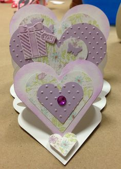 By Suzanne Cote. Triple Heart Easel Card variation.