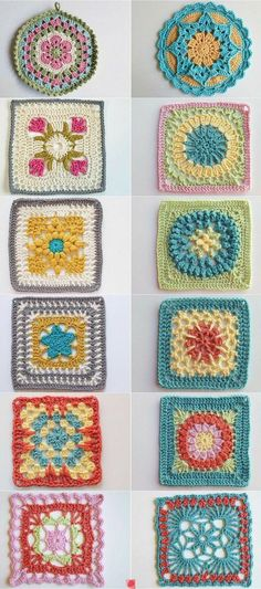Crochet Granny Square Patterns Cuadrados de ganchillo - Today let's look at ten items from my favorite board: Crochet Blocks and Squares. I love curating examples of this niche of crochet and seeing them laid out side by side! Motifs Granny Square, Crochet Motifs, Granny Square Crochet Pattern, Crochet Blocks, Crochet Squares, Crochet Stitches, Granny Squares, Granny Granny, Crochet Mandala