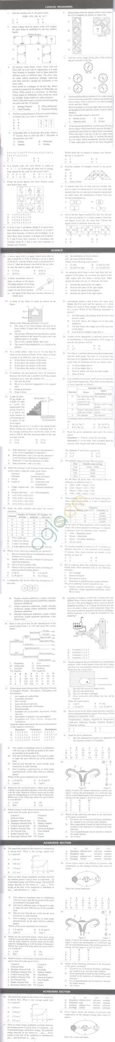 NSO 2014 Papers with Answers for Class 9 - Set A