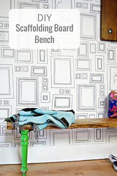 DIY scaffolding board furniture.  Make a unique bench from upcycling an old chair and a scaffolding board for the home or garden.