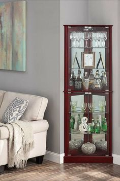 Woody Lighted Corner Curio Cabinet Tempered Glass Door 6 Shelves