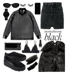 """Street Style: Dark"" by omithenaomi ❤ liked on Polyvore featuring Vetements, Monki, Puma, Yves Saint Laurent, Chanel and CLUSE"