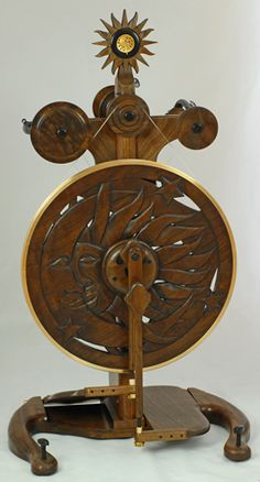 """I want to learn how to spin, so I can have this!!!  """"SUN/MOON"""" (This is a Custom One-of-a-Kind Wheel) Walnut, Ebony, Gold Plated Insets and Bronze Alloy Ring Ratios to 33:1"""