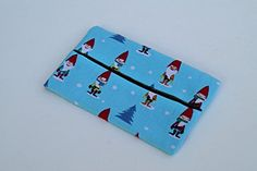Blue Fabric Tissue Holder with Christmas Gnomes.