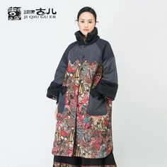 Find More Parkas Information about Jiqiuguer Retro Long Thick Printed Cotton Coat For Women Chinese Style Ladies Cotton Jackect With Stand up Fur Collar G164Y034,High Quality coat hooks with shelf,China coat Suppliers, Cheap coat snow from Jiqiuguer on Aliexpress.com