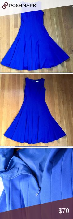 """Calvin Klein 2P Flare Blue Scuba Dress Super cute fit and flat Calvin Klein Dress. Excellent fabric, lined, heavy material that will flatter you.   Size 2P  Bought off Poshmark but turns out I misjudged the size and it sadly is too small for me.   In great condition doesn't even look like it's worn.  Fits more like a 0 than a 2.   My measurements are 32C, 27"""" waist and I'm 5'1"""". Calvin Klein Dresses Midi"""