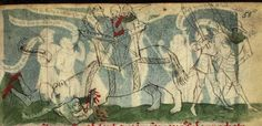 DKB GKS 79 2º Speculum humanae salvationis, folio 58r, 1430, Germany. Currently held at the National Library of Denmark and Copenhagen University Library. A rather large axe with a beautifully elongated cutting head being used with a shield. [741 x 358]