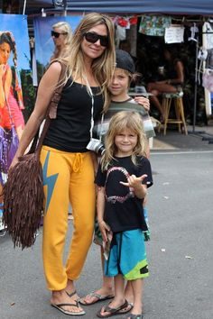 Petra Frankenreiter styling at The Village Markets at Bleach* Festival with sons Ozzie and Hendrix! What a cute fan!