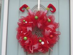 Deco mesh wreath, elf wreath, red and white Christmas wreath, homemade wreath, Christmas ruffle wreath by DecoMeshDesigns4U on Etsy