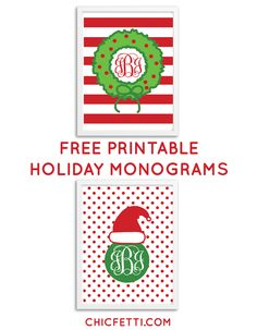 Free Printable Holiday Monograms from @Chicfetti #freeprintable