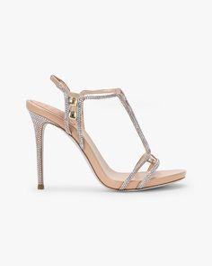 Satin and rhinestone sandals