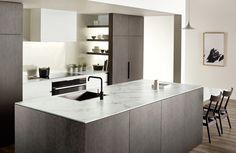 I like the dark grey/earthy coloured, textured panels. Apartment Kitchen, Kitchen Interior, Marble Benchtop, Laminate Benchtop, U Shaped Kitchen, Modern Kitchen Design, Kitchen Designs, Kitchen Storage, House Design