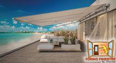 Tende da Sole a Bracci su Barra Quadra modello Atlantica Torino, Terrazzo, Mansions, House Styles, Outdoor Decor, Home Decor, Decoration Home, Manor Houses, Room Decor