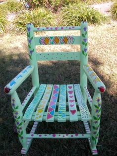 Hand Painted Child's Whimsical Rocking by Clareensquirkycorner