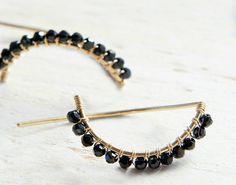 Black Spinel Earrings Black Half Moon Jewelry Minimal
