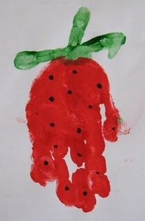 strawberry hand print...little mouse...big hungry bear...Red Ripe Strawberry!
