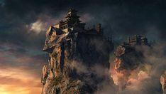 切り立った崖の上に建てられたお城をリアルに描いたイラスト壁紙画像