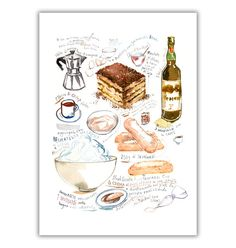 Italian Tiramisu recipe poster, Watercolor illustration, Illustrated recipe, Italy, Kitchen wall art