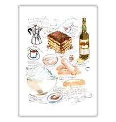 Großes Plakat illustriert Tiramisu Rezept Küche von lucileskitchen