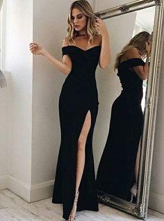 Mermaid Off-the-Shoulder Floor-Length Black Prom Dress with Split