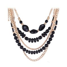 SunIfSnow Retro Classical Five Layer Beads Short Chain Necklace Golden ** Check out the image by visiting the link.