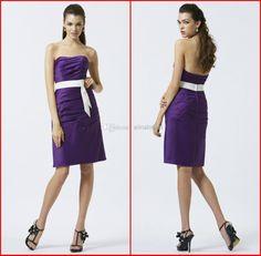 Wholesale Bridesmaid Dress - Buy Edenbridals New 2014 Purple Bridesmaid Dress Strapless Sheath Column Cocktail Length Ruffle Satin Misses Formal Gowns Party Dresses AB-103, $78.0 | DHgate