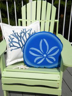 Sand dollar 20 pillow outdoor blue on white or by crabbychris, $41.00