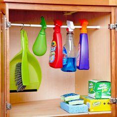 Keep Your Spray Bottles in Line Organisation Hacks, Storage Hacks, Storage Ideas, Ikea Skubb, Cleaning Hacks, Cleaning Supplies, Laundry Basket Dresser, Materiel Camping, Handyman Magazine