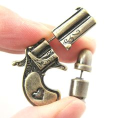 fake-gauge-earrings-gun-pistol-and-bullet-shaped-faux-plug-stud-earrings-in-brass