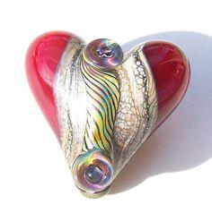 Ocean Serpent EggScarlet Sea Handmade lampwork glass by Genea, $35.00
