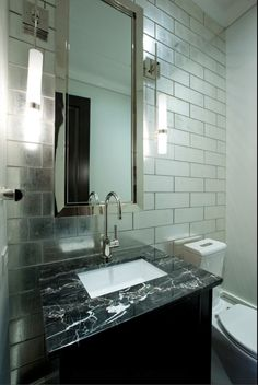 Dazzling Ann Sacks Tile Convention Chicago Contemporary Powder Room  Decorating Ideas With Bathroom Mirror Bathroom Tile Gooseneck Faucet  Minimal Mirrored ...