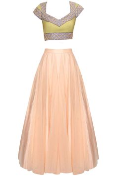 Peach rust firework embroidered lehenga set available only at Pernia's Pop Up Shop.#perniaspopupshop #shopnow #newcollection #festive #clothing #designer #ohailakhan