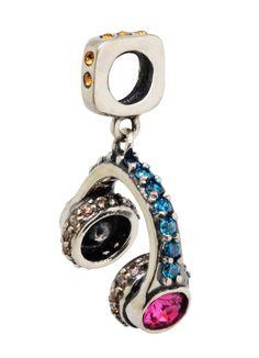 Headphone em prata 925, berloque ricamente trabalhado com cristais Swarovski