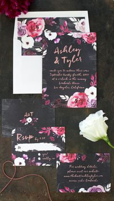 Painterly Bohemian Wedding Invitation Suite