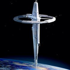 "Cress' Space Station. I don't think it would be this BIG, but the idea would be to have a long space station, vertically, so it would give it a ""tower"" impression from the fairy tail!"