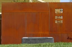 Cor-ten steel panels_ modern landscape by R Design Landscape Architecture Inc. P.C.