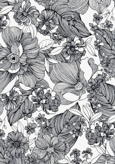 floral pattern black and white & floral pattern ` floral pattern design ` floral pattern vintage ` floral pattern illustration ` floral pattern wallpaper ` floral pattern drawing ` floral pattern black and white ` floral pattern vector Motifs Textiles, Textile Patterns, Flower Patterns, Pattern Flower, Flower Pattern Drawing, Zentangle Patterns, Textile Design, L Wallpaper, Pattern Wallpaper
